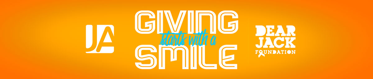 giving starts with a smile campaign banner